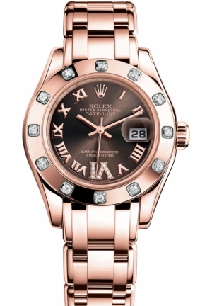 LADY-DATEJUST PEARLMASTER Oyster Everose gold and diamonds , M80315-0013 29 mm
