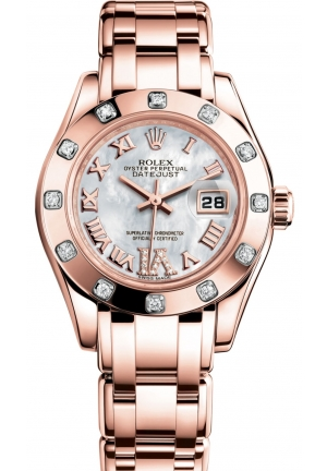 LADY-DATEJUST PEARLMASTER Oyster Everose gold and diamonds , M80315-0014 29 mm