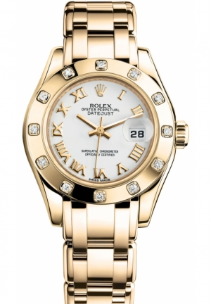LADY-DATEJUST PEARLMASTER Oyster yellow gold and diamonds , M80318-0054 29 mm