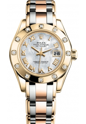 LADY-DATEJUST PEARLMASTER Oyster yellow gold and diamonds, M80318-0056 29 mm