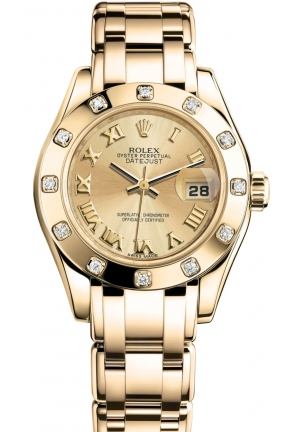 LADY-DATEJUST PEARLMASTER Oyster yellow gold and diamonds , M80318-0060 29 mm