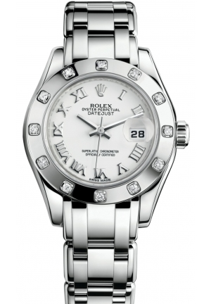 LADY-DATEJUST PEARLMASTER Oyster white gold and diamonds  M80319-0040, 29 mm