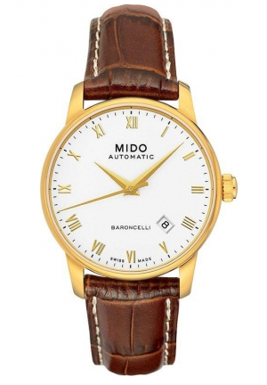 Mido Baroncelli Automatic White Dial Brown Leather Mens Watch M8600.3.26.8 38mm