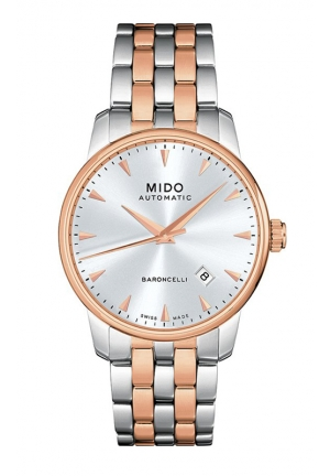 MIDO Baroncelli Men Mechanical Automatic Swiss Watch White Rose Gold M86009111 38mm