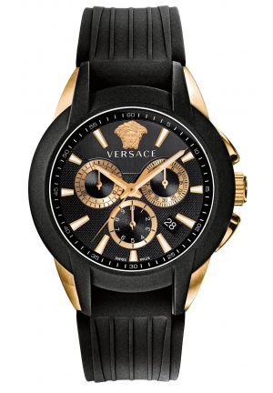 VERSACE Swiss Chronograph Character Black Rubber Strap 52x43mm