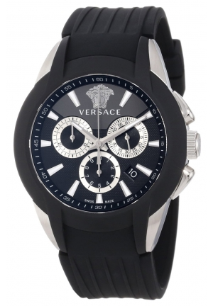"VERSACE ""Character"" Stainless Steel Watch with Black Rubber Band 43mm"