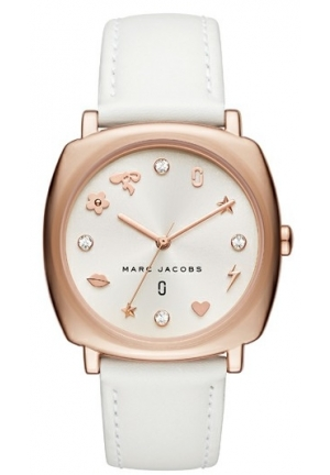 Mandy White Leather Strap Watch 34x34mm