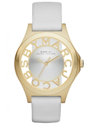 MARC BY MARC JACOBS Henry Skeleton White Leather Watch 34 mm MBM1339