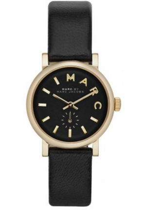 Baker Gold-Tone Black Leather Ladies Watch 28 mm