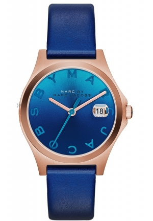 Slim Blue Leather Ladies Watch 31 mm MBM1324