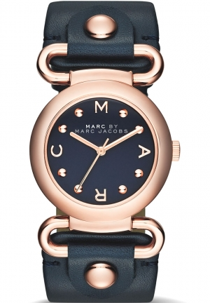 Marc By Marc Women's Molly Blue Leather Quartz Watch MBM1334