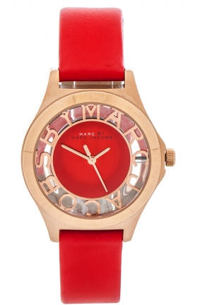 Henry Skeleton Red Leather Watch 34mm