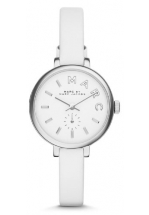Sally White Dial White Leather Ladies Watch 28mm MBM1350