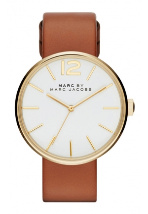 MARC JACOBS Ladies Peggy Light Brown Leather Strap Watch MBM1362