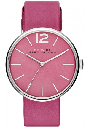 Marc by Marc Jacobs Women's Peggy Pink Leather Strap Watch 36mm MBM1363
