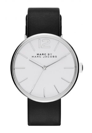 MARC JACOBS Ladies Peggy Black Leather Strap Watch 36mm MBM1365