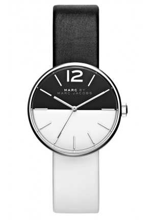 MARC JACOBS Women's Peggy Black and White Leather Strap Watch 36mm MBM1366