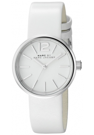 Marc by Marc Jacobs Peggy White Dial White Leather Ladies Watch 26mm