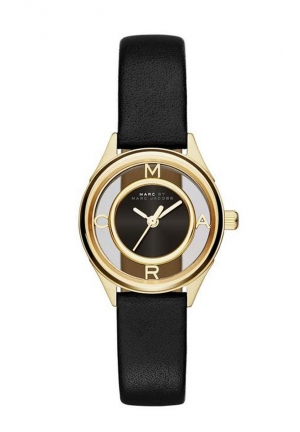 MARC JACOBS Black Leather Tether Strap 25MM