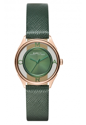 MARC JACOBS Tether Three Hand Leather Watch - Green 25mm