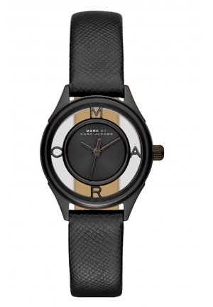 MARC JACOBS Tether Three Hand Leather Watch - Black 25mm