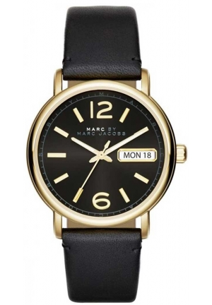 MARC JACOBS Fergus Three Hand Leather Watch - Black 38mm