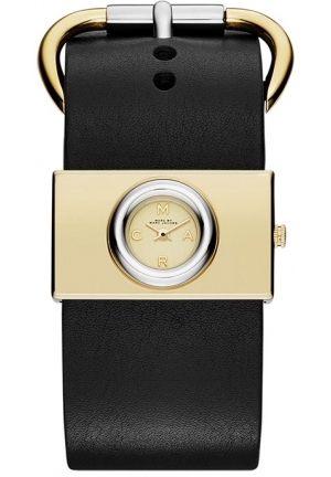 Marc by Viv Champagne Dial Black Leather Ladies Watch 19mm