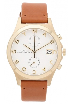 BRAND NEW MARC JACOBS SLIM GOLD TONE BROWN LEATHER CHRONO WATCH