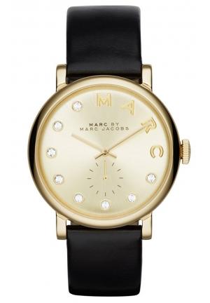 MARC JACOBS Black Leather Baker Dexter Strap 36mm