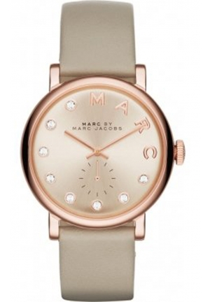 MARC JACOBS Grey Leather Baker Dexter Strap 36mm MBM1400