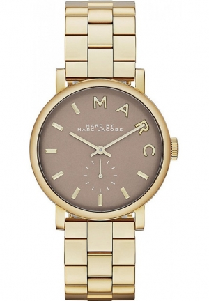 Marc Jacobs Ladies Grey Gold Baker Watch 36mm MBM3281