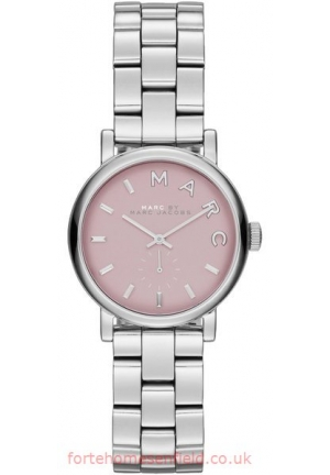 Marc By Marc Jacobs Women's Baker Mini Silver-Tone Stainless Steel Pink Dial - 28mm MBM3283