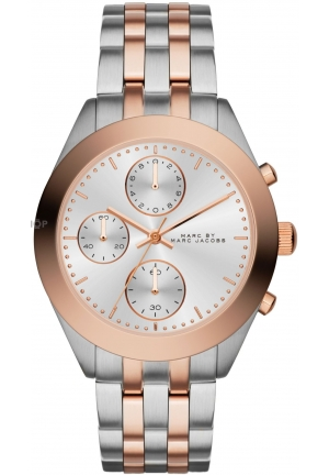 Peeker Rose Gold and Silver Tone Chronograph Watch 36mm MBM3369