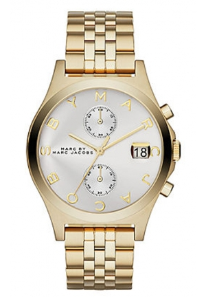 MARC JACOBS Women's Slim Chrono Gold-Tone Stainless Steel Bracelet Watch 38mm MBM3379