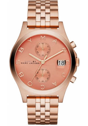 Marc by Marc Jacobs Women's Slim Chrono Rose Gold-Tone Stainless Steel Bracelet Watch 39mm MBM3384 MBM3384