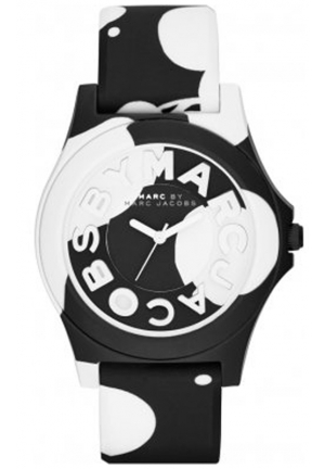 MARC JACOBS Unisex Sloane Black and White Silicone Strap Watch 40mm MBM4027