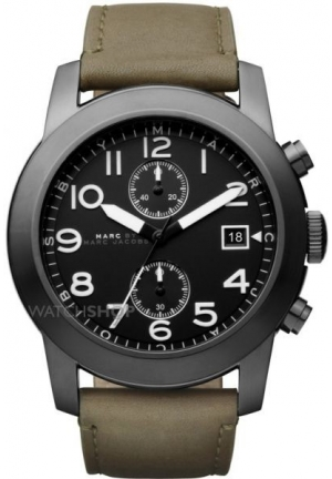 Marc by Marc Jacobs Larry Chronograph Olive Leather Mens Watch 46mm MBM5034