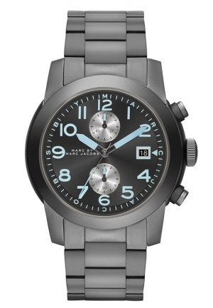 Men's Chronograph Larry Gunmetal-Tone Stainless Steel Bracelet Watch 46mm MBM5051