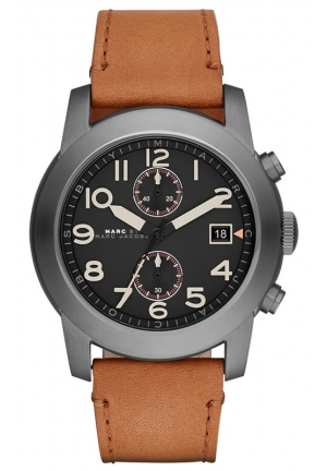 Men's Chronograph Larry Tan Leather Strap Watch 46mm MBM5082