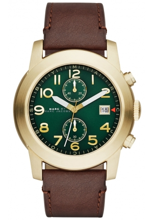 Men's Chronograph Larry Tan Leather Strap Watch 46mm MBM5083