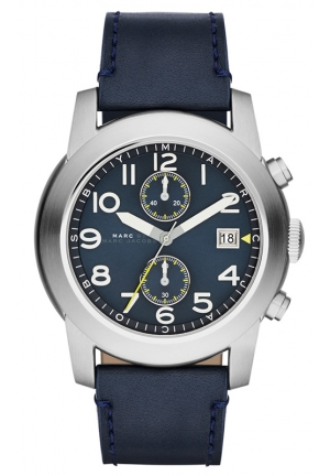Men's Chronograph Larry Blue Leather Strap Watch 46mm MBM5084