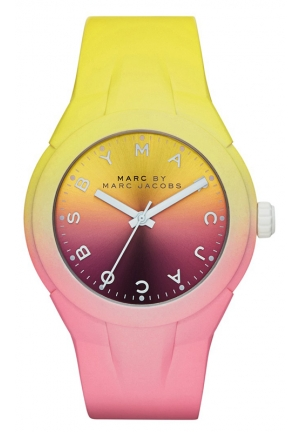 Women's X-Up Pink and Yellow Degrade Silicone Strap Watch 38mm MBM5540