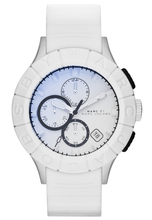 Men's Chronograph Buzz Track White Silicone Strap Watch 44mm MBM5542