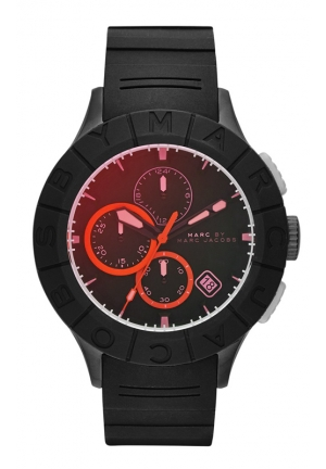 Men's Chronograph Buzz Track Black Silicone Strap Watch 44mm MBM5546