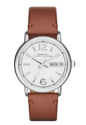 MARC JACOBS Fergus Silver Leather Quartz Watch 38mm MBM8649