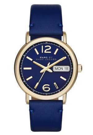 MARC JACOBS Fergus Blue Leather Quartz Watch 38 mm MBM8650