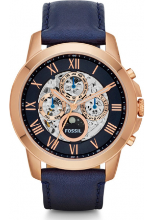 FOSSIL MEN'S GRANT AUTOMATIC LEATHER WATCH 44MM