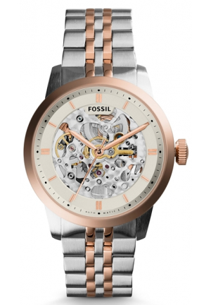 Fossil Townsman Automatic Beige Skeleton Dial Two-tone Stainless Steel Men's Watch
