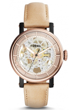 Fossil Women's Automatic Original Boyfriend Sand Leather Strap Watch 38mm