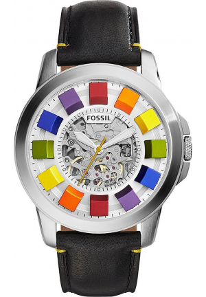 FOSSIL GRANT AUTOMATIC BLACK LEATHER WATCH 44MM